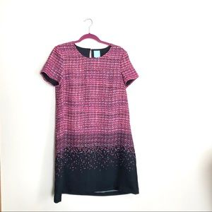 CeCe A-Line Black and Pink Patterned Dress